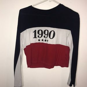 Red, White & Blue Long-Sleeve Crop Top